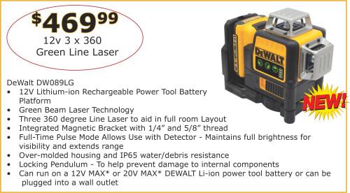 new dewalt tools green line laser